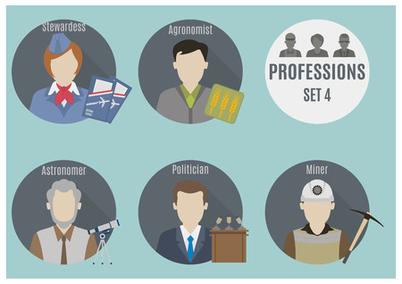 Profession people. Set 4. Flat style icons in circles Vector