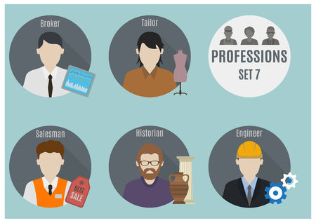 salesman: Profession people. Set 7. Flat style icons in circles