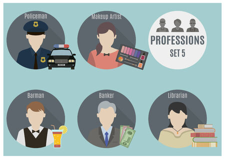 librarian: Profession people. Set 5. Flat style icons in circles