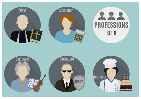 Profession people. Set 8. Flat style icons in circles Vector