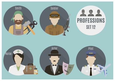 theatre nurse: Profession people. Set 12. Flat style icons in circles Illustration