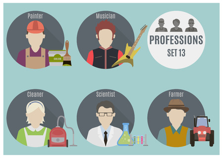 scientist woman: Profession people. Set 13. Flat style icons in circles