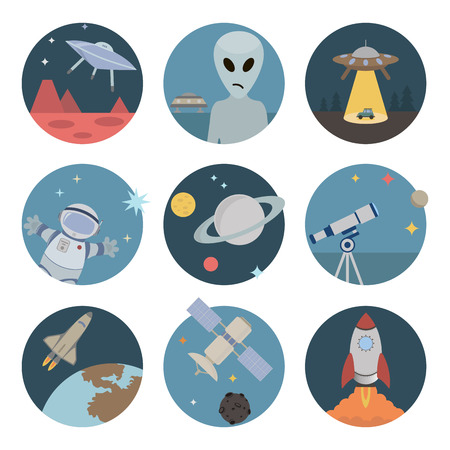 alien planet: Space flat icons. Set of round icons