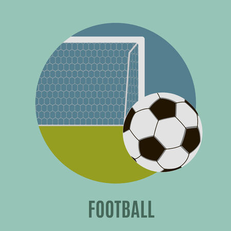 goal post: Football. Illustration of a soccer ball, flat icon