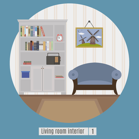 classic house: Living room interior. Flat icon for you design