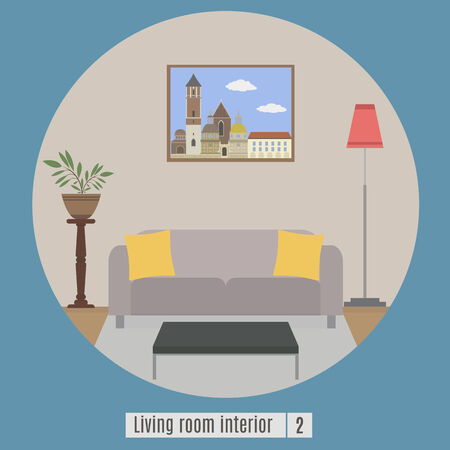 classic living room: Living room interior. Flat icon. Set 2