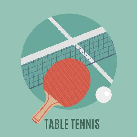 pingpong: Mesa de ping pong. Raqueta y pelota, icono plana