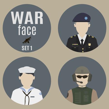 comandante: Soldati. Set 1. volti dei soldati e comandanti