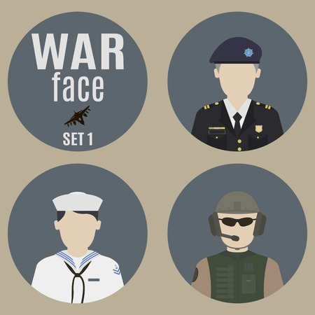 commander: Soldiers. Set 1. Faces of the soldiers and commanders
