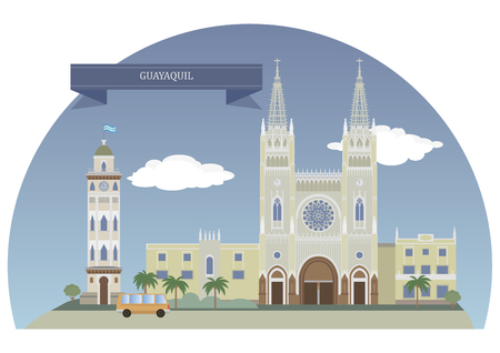 populous: Guayaquil, Ecuador. Largest and the most populous city in Ecuador Illustration