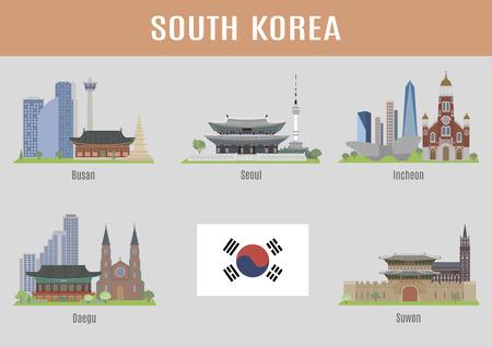 大韓民国の都市。韓国の主要都市の有名な場所  イラスト・ベクター素材