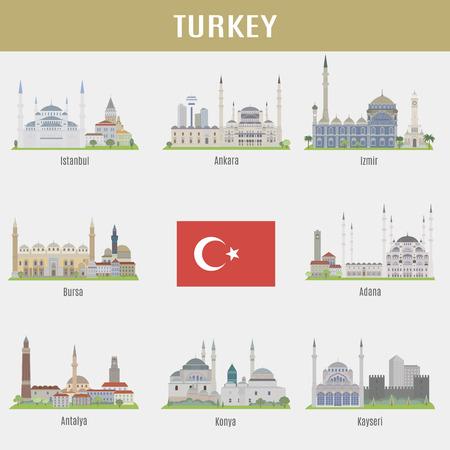 Steden van Turkije. Beroemde Plaatsen Turkse steden Stock Illustratie