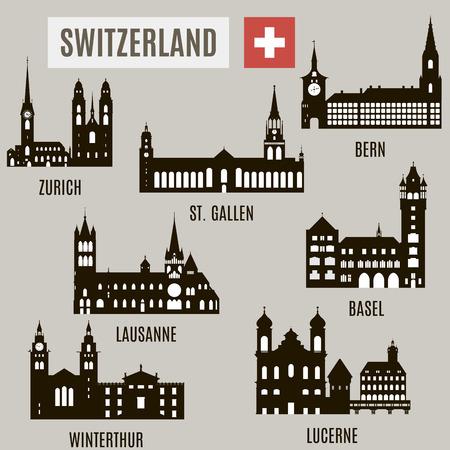 Villes en Suisse. Des silhouettes de bâtiments célèbres en Suisse Banque d'images - 36305769