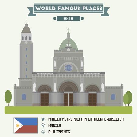 manila: Manila Metropolitan Cathedral-Basilica. Manila, Filippine Vettoriali