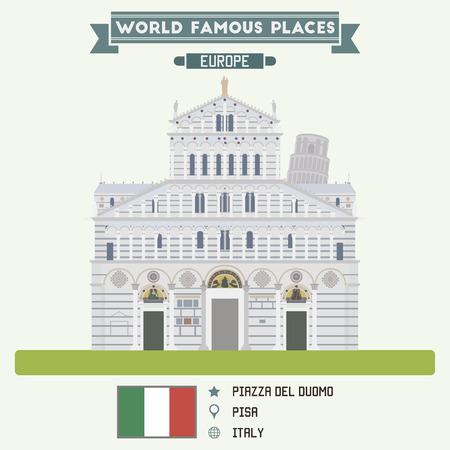 pisa: Piazza del Duomo, Pisa. Italy Illustration