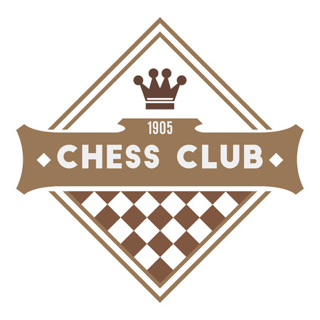 queen of clubs: Chess club . Retro style Illustration