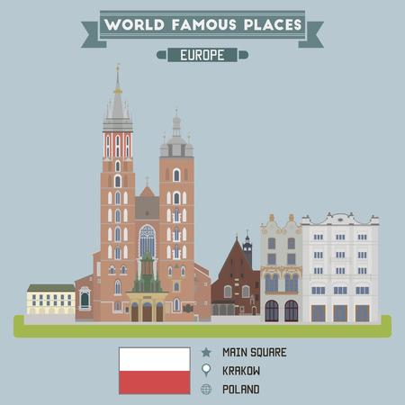 Main Square. Krakow, Poland Illustration