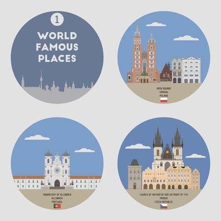 World famous places. Set 1: Krakow, Alcobaca, Prague Vetores