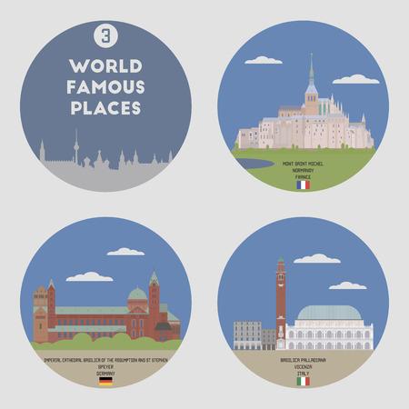 famous places: World famous places. Set 3: Mont Saint Michel, Speyer, Vicenza