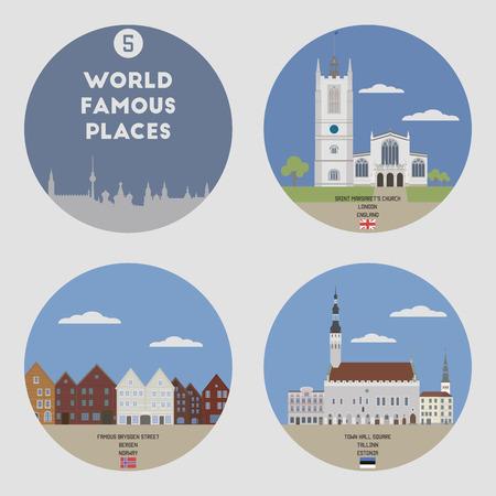 estonia: World famous places. Set 5: London, Bergen, Tallinn Illustration