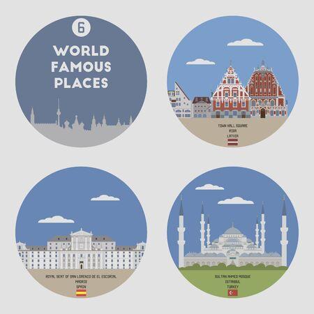 famous places: World famous places. Set 6: Riga, Madrid, Istanbul
