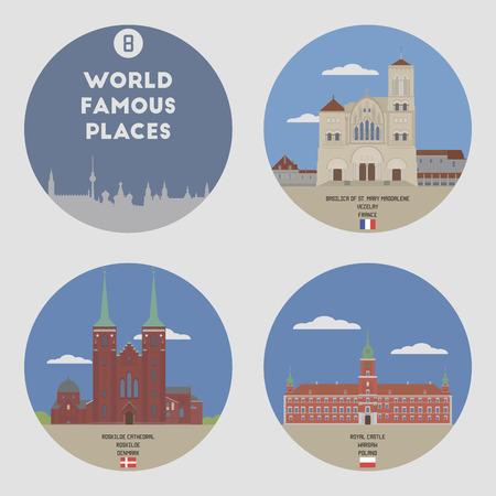 warsaw: World famous places. Set 8: Vezelay, Roskilde, Warsaw Illustration