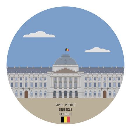 famous place: Royal Palace, Brussels. Belgium famous place Illustration