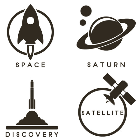 space shuttle: Space emblems Illustration