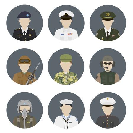 soldado: Avatares militares. Vector conjunto