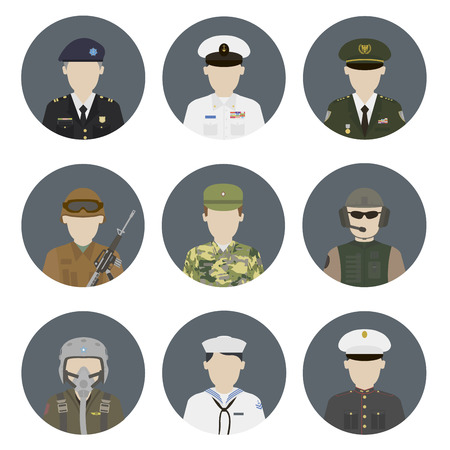 military uniform: Military avatars. Vector set