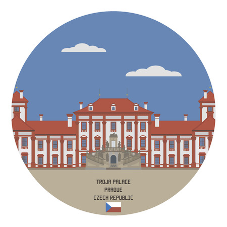 built tower: Troja Palace. Prague, Czech Republic Illustration