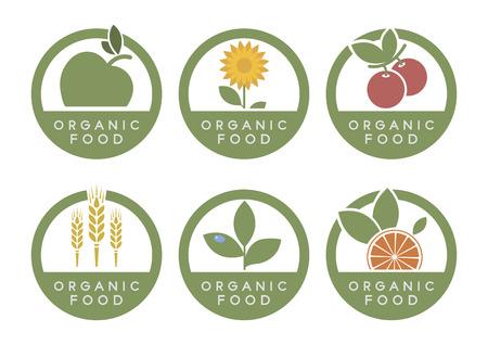 Organic food icons. Green set Illusztráció