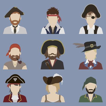 pirate symbol: Set of avatars. Pirate