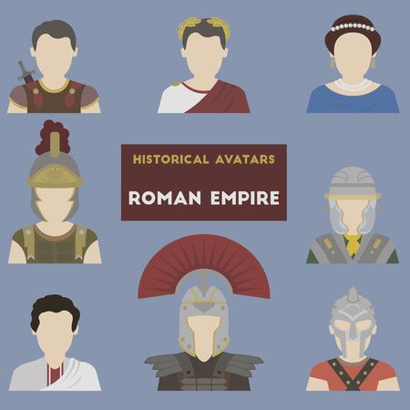 歴史的なアバターのセットです。ローマ帝国  イラスト・ベクター素材