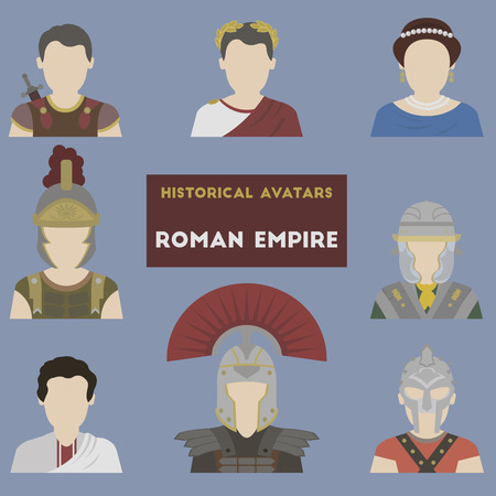Set of historical avatars. Roman Empire