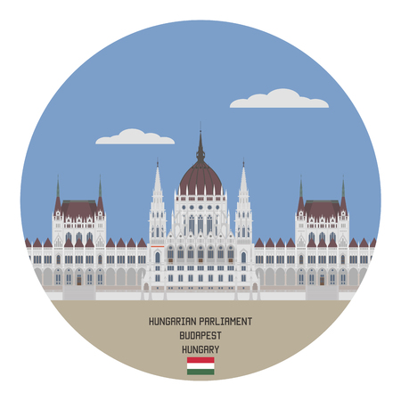 notable: Hungarian Parliament Building, notable landmark of Hungary and a popular tourist destination of Budapest Illustration