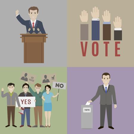 선거. 후보와 유권자. 플랫 스타일