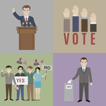 podium: Elections. The candidate and the electorate. Flat style