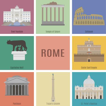 templo: Símbolos de Roma. Fontana de Trevi, el Templo de Saturno, el Coliseo, Capitolina Wolf, Panteón Vectores