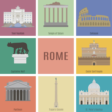 the temple: Symbols of Rome. Trevi Fountain, Temple of Saturn, Coliseum, Capitoline Wolf, Pantheon