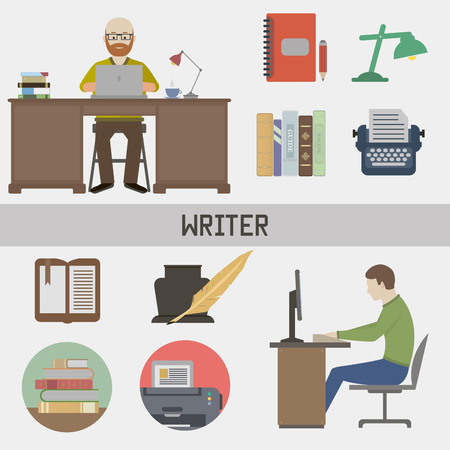 Writer. Set in a flat style