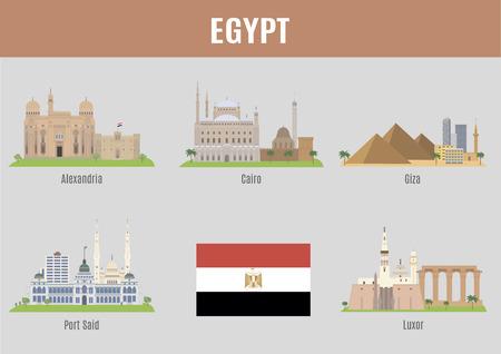 bandera de egipto: Ciudades de Egipto. Ciudades Famoso Lugares Egipto