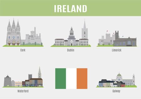 bandera irlanda: Ciudades de Irlanda. Ciudades lugares famosos de Irlanda Vectores