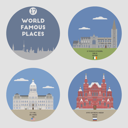 baltimore: World famous places. Set 17: Baltimore, Moscow, Dublin Illustration