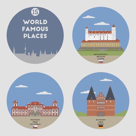 places: World famous places. Set 15: Prague, Bratislava, Lubeck Illustration