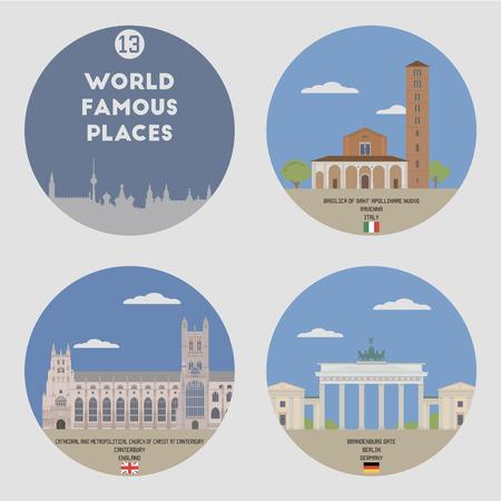 famous places: World famous places. Set 13: Berlin, Caunterbury and Ravenna Illustration
