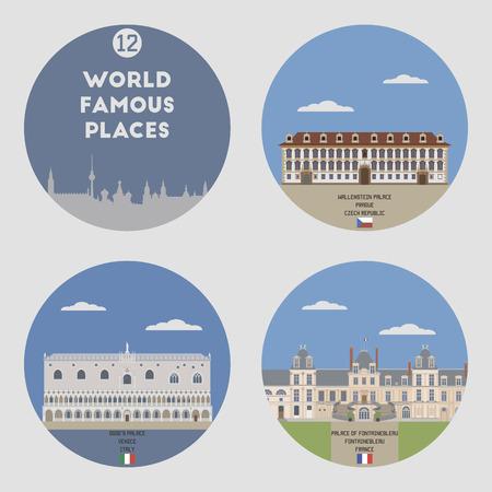 famous places: World famous places. Set 12: Venice, Fontainbleau and Prague