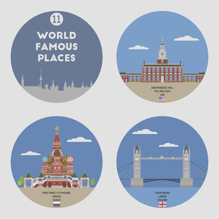places: World famous places. Set 11: Philadelphia, Moscow and London