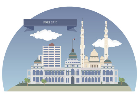 said: Port Said. City that lies in north east Egypt Illustration