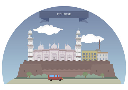 pakistan: Peshawar. The ninth-largest city of Pakistan Illustration